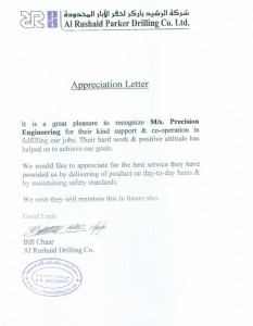 Appreciation From Al Rushaid Parker Drilling Co.Ltd